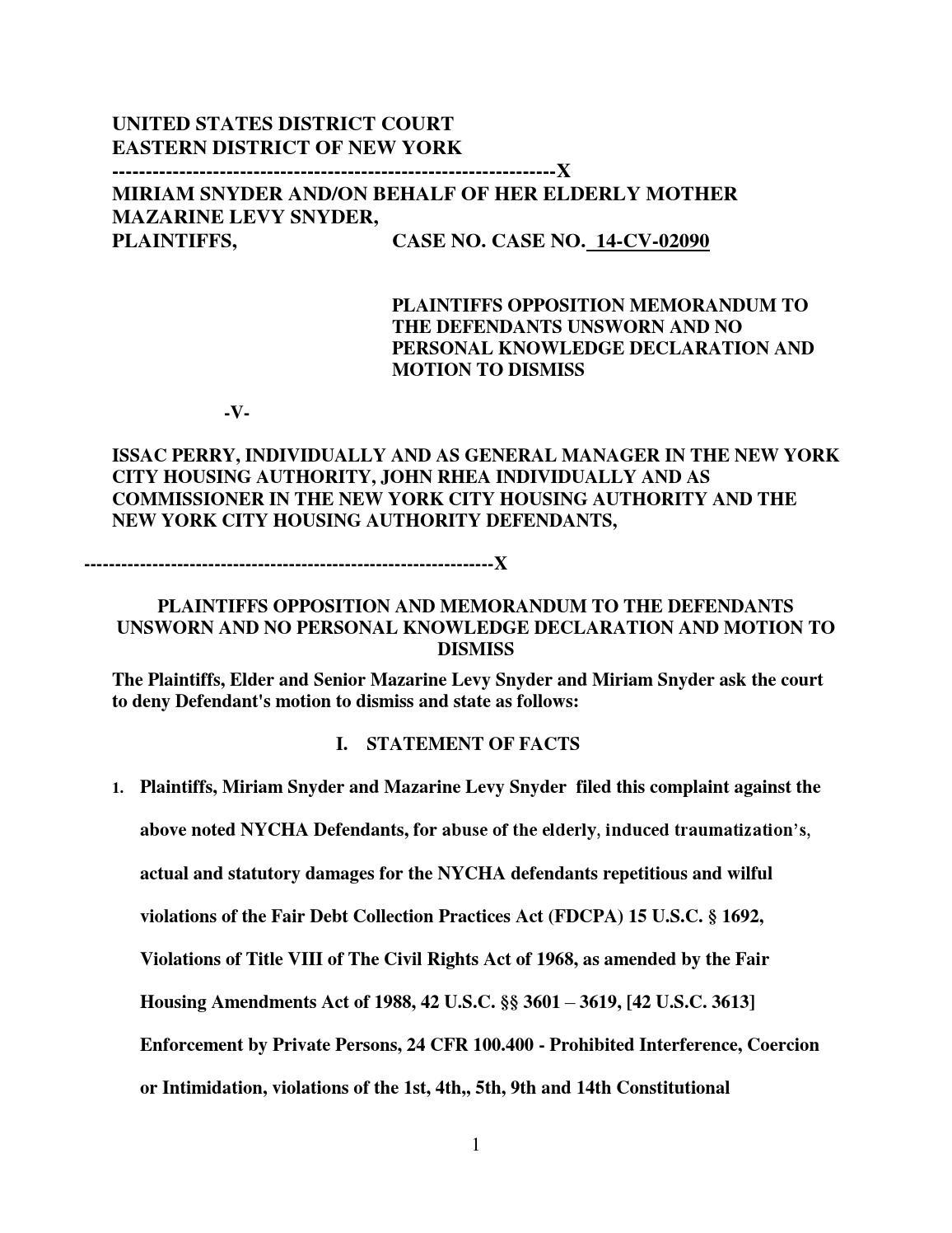 Nycha Sanctionable Motion Response Opposition Motion By