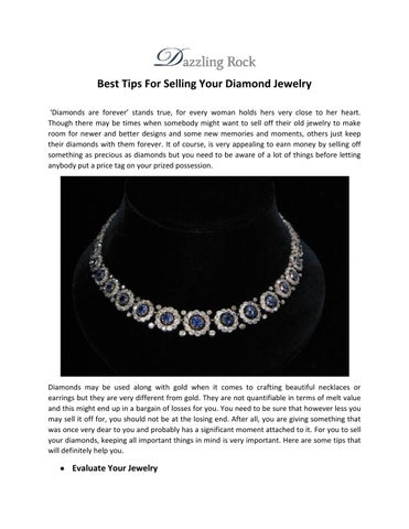 522e78b889a Best Tips For Selling Your Diamond Jewelry  Diamonds are forever  stands  true