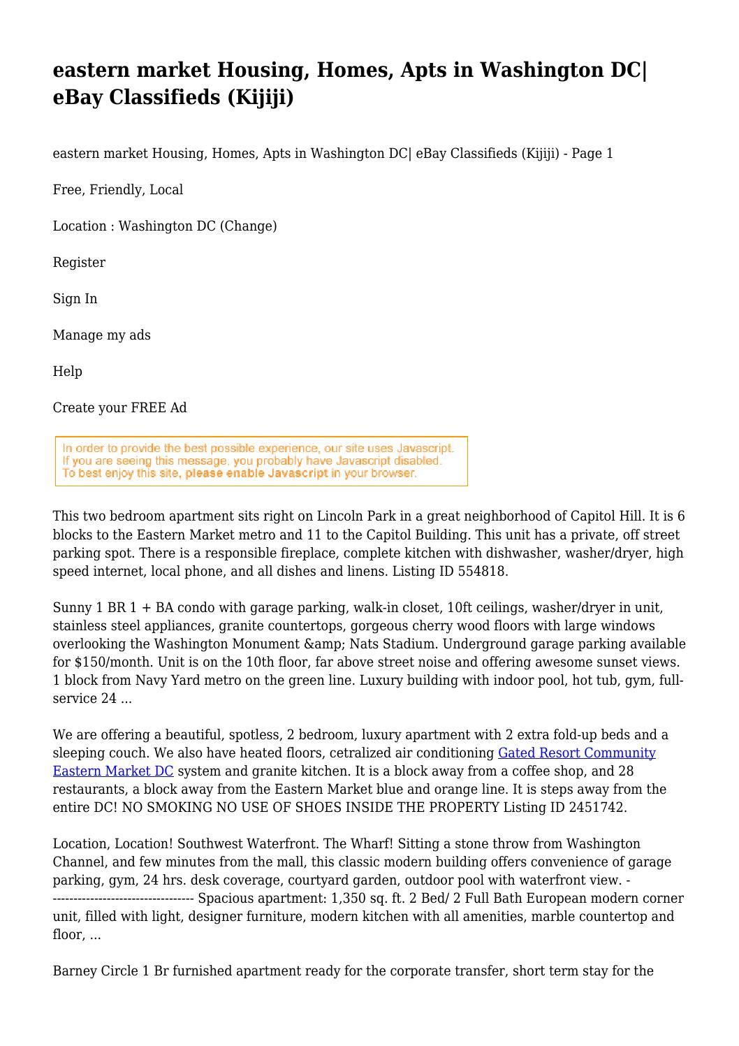 Eastern Market Housing Homes Apts In Washington Dc Ebay Classifieds Kijiji By Tightfistedbunc48 Issuu