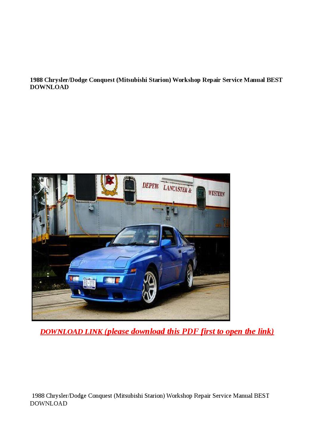 1988 chrysler dodge conquest (mitsubishi starion) workshop repair service  manual best download by Anna Tang - issuu