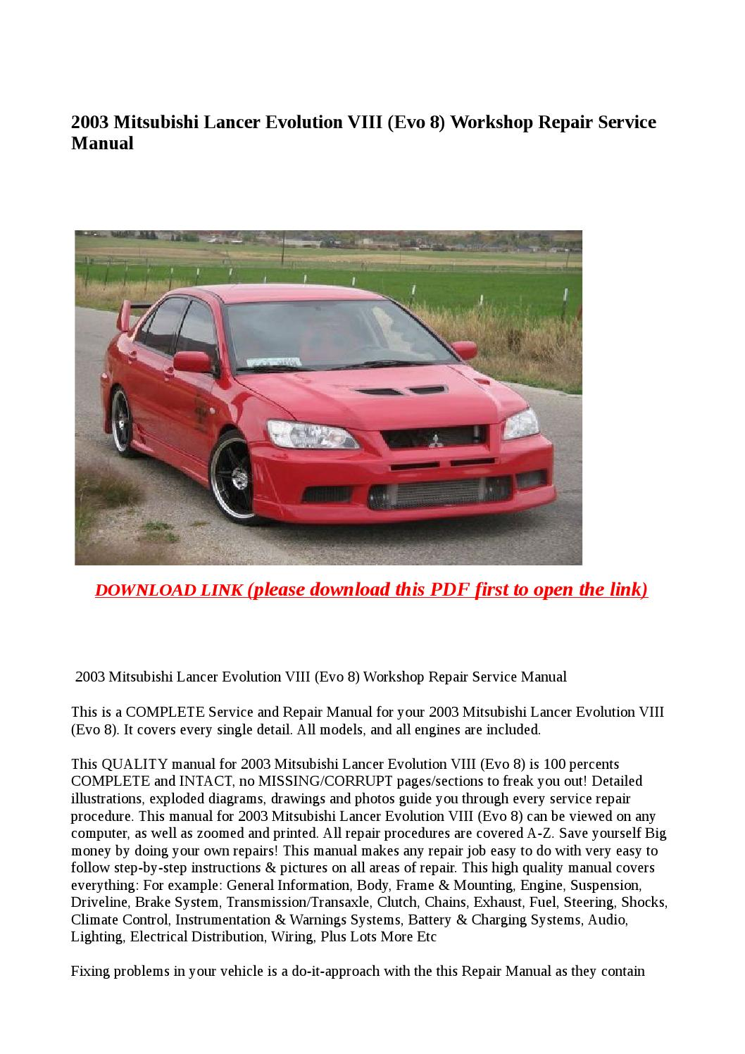 2003 mitsubishi lancer evolution viii (evo 8) workshop repair service manual  by Anna Tang - issuu