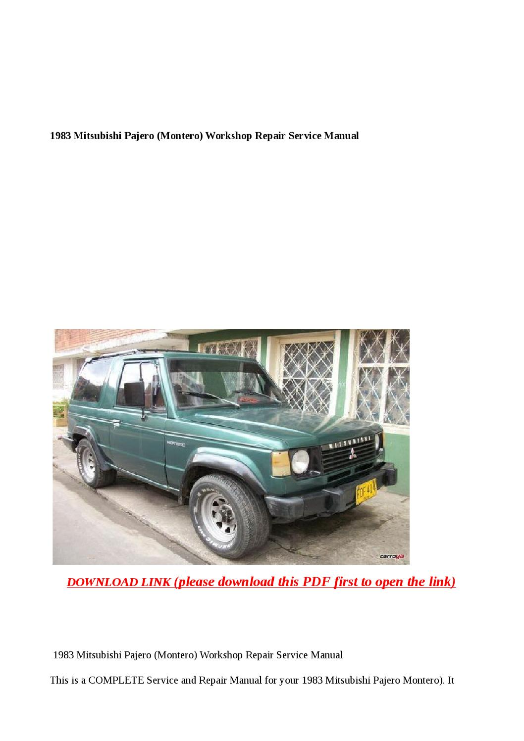 1983    mitsubishi       pajero        montero        workshop    repair service