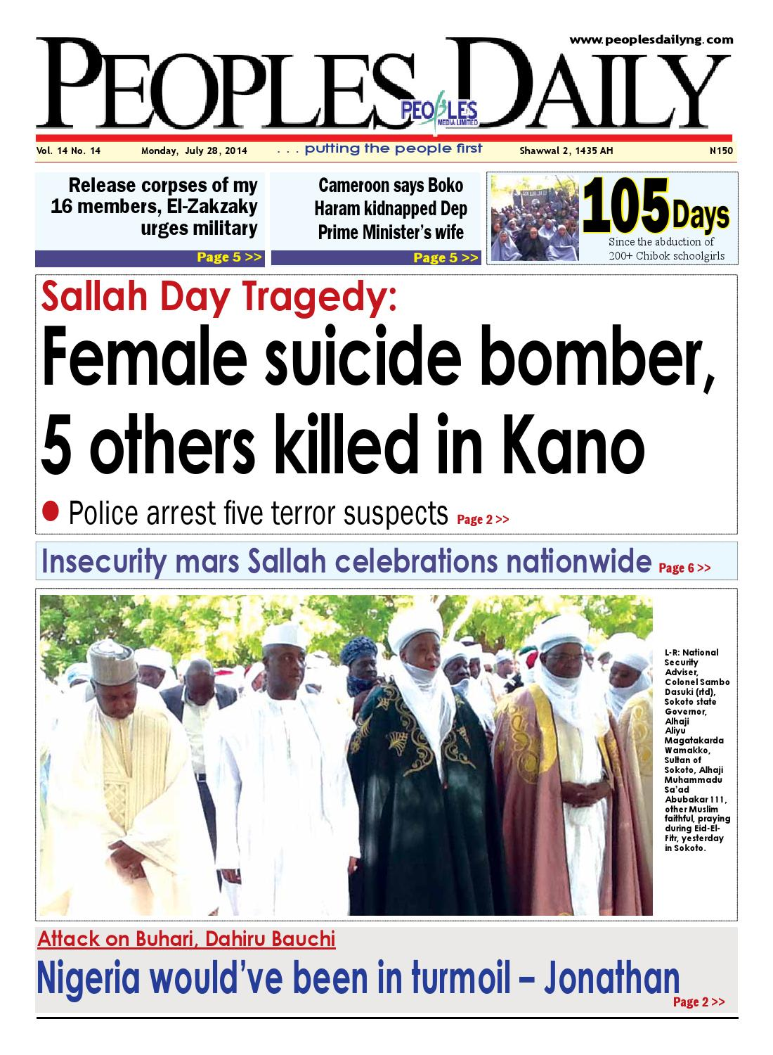 Monday 28th July 2014 Edition By Peoples Media Limited Issuu