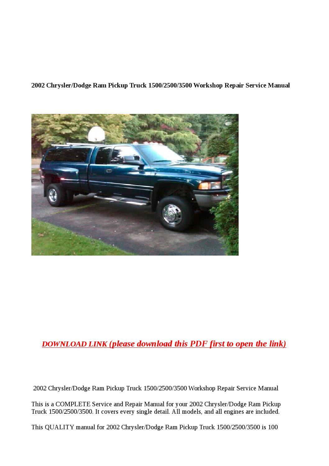 2002 Chrysler Dodge Ram Pickup Truck 1500 2500 3500 Workshop Repair Service Manual By Anna Tang