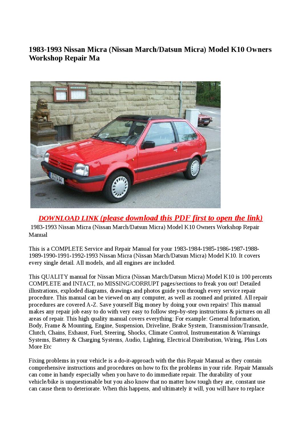 1983 1993 nissan micra (nissan march datsun micra) model k10 owners  workshop repair manual by Anna Tang - issuu