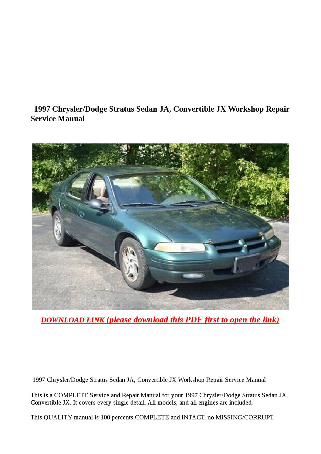 1997 chrysler dodge stratus sedan ja, convertible jx workshop repair  service manual by Anna Tang - issuu