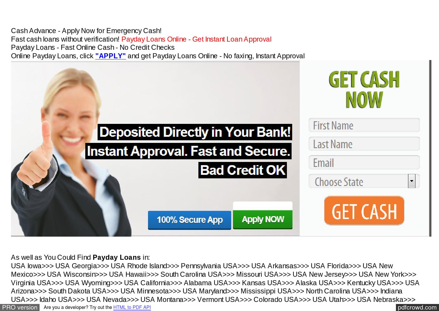Cash Advance Loans With No Bank Account --- Instant Money