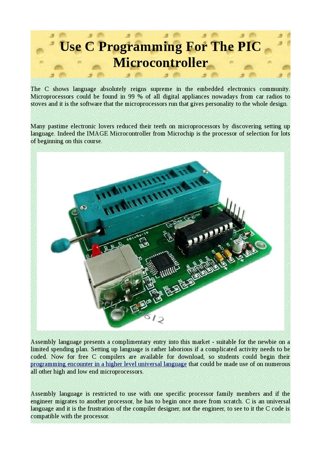 Use c programming for the pic microcontroller by akevedoff - issuu