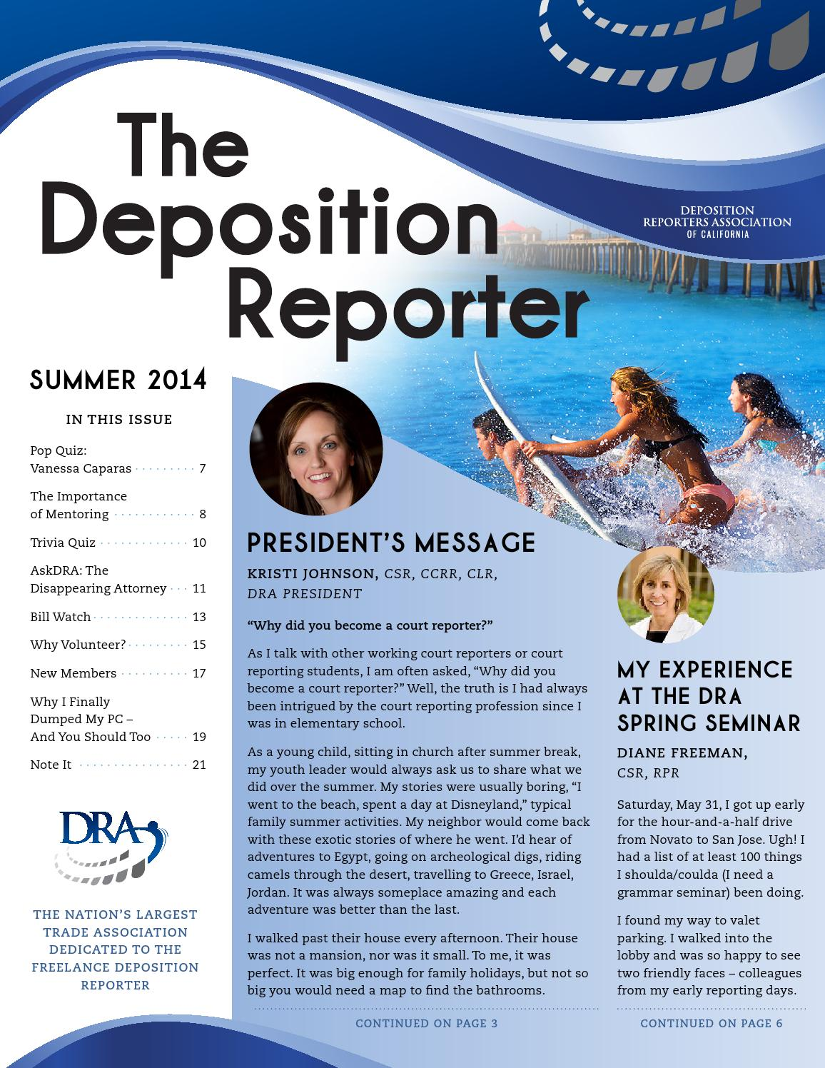 The Deposition Reporter: Summer 2014 by Deposition Reporters
