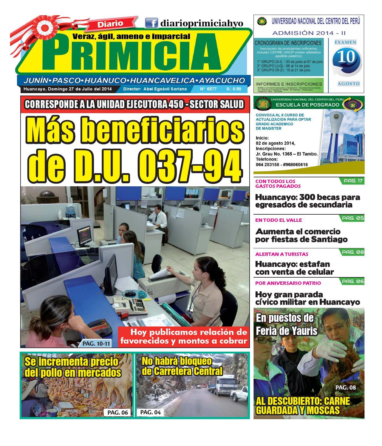 Diario Primicia Huancayo 27 07 14 by Diario PRIMICIA - issuu 1df9ffcdbb2