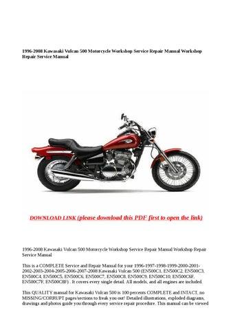 1996 2008 kawasaki vulcan 500 motorcycle workshop service repair rh issuu com 2001 Kawasaki 500 Vulcan Specs 2001 Kawasaki 500 Vulcan Specs