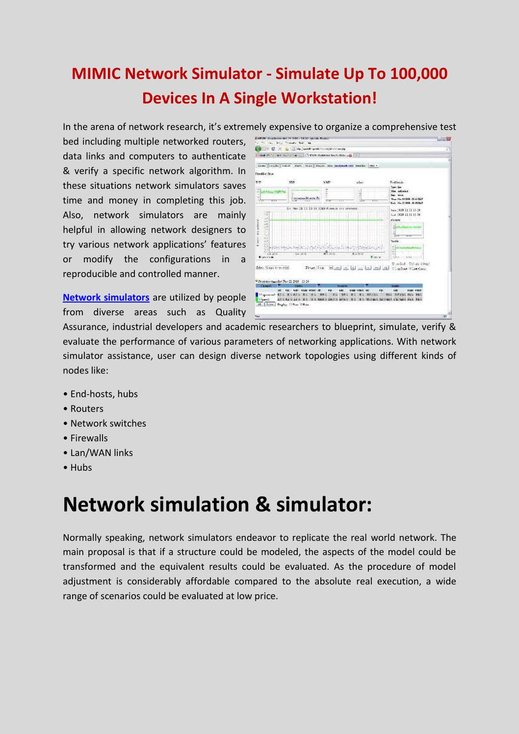 Mimic network simulator simulate up to 100,000 devices in a single