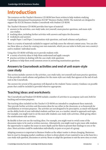 Cambridge IGCSE Business Studies Teacher's Resource by Cambridge