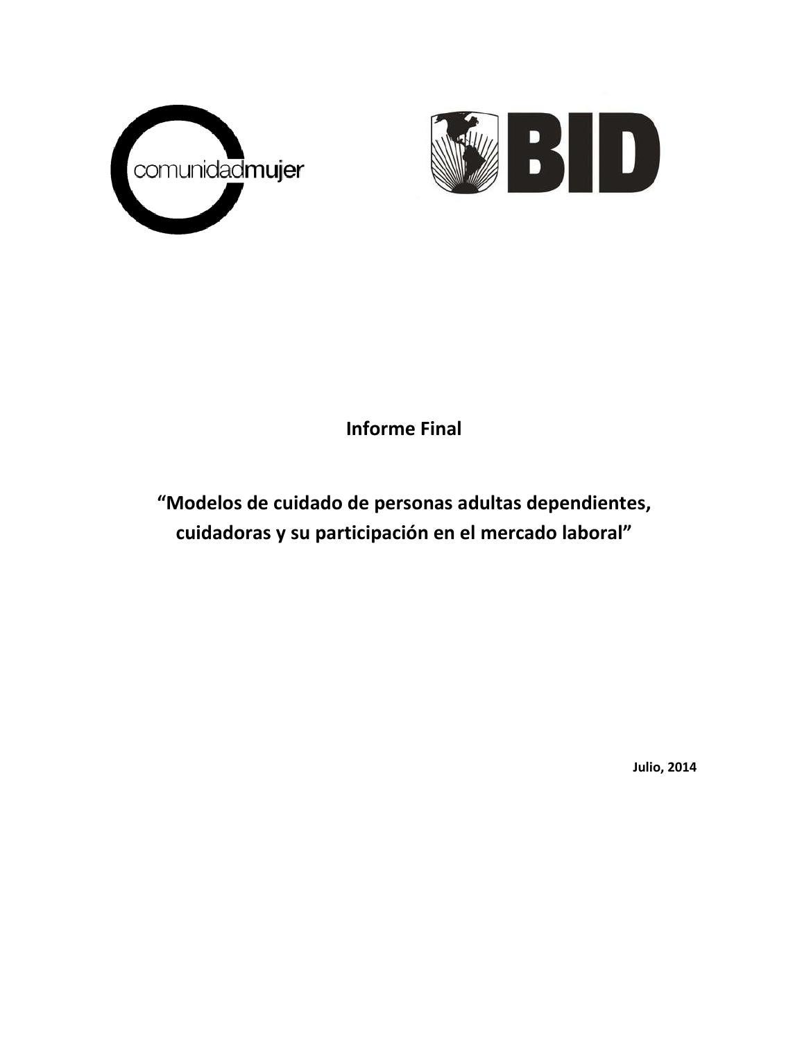 Informe final modelos de cuidado, cuidadoras y participación by ...