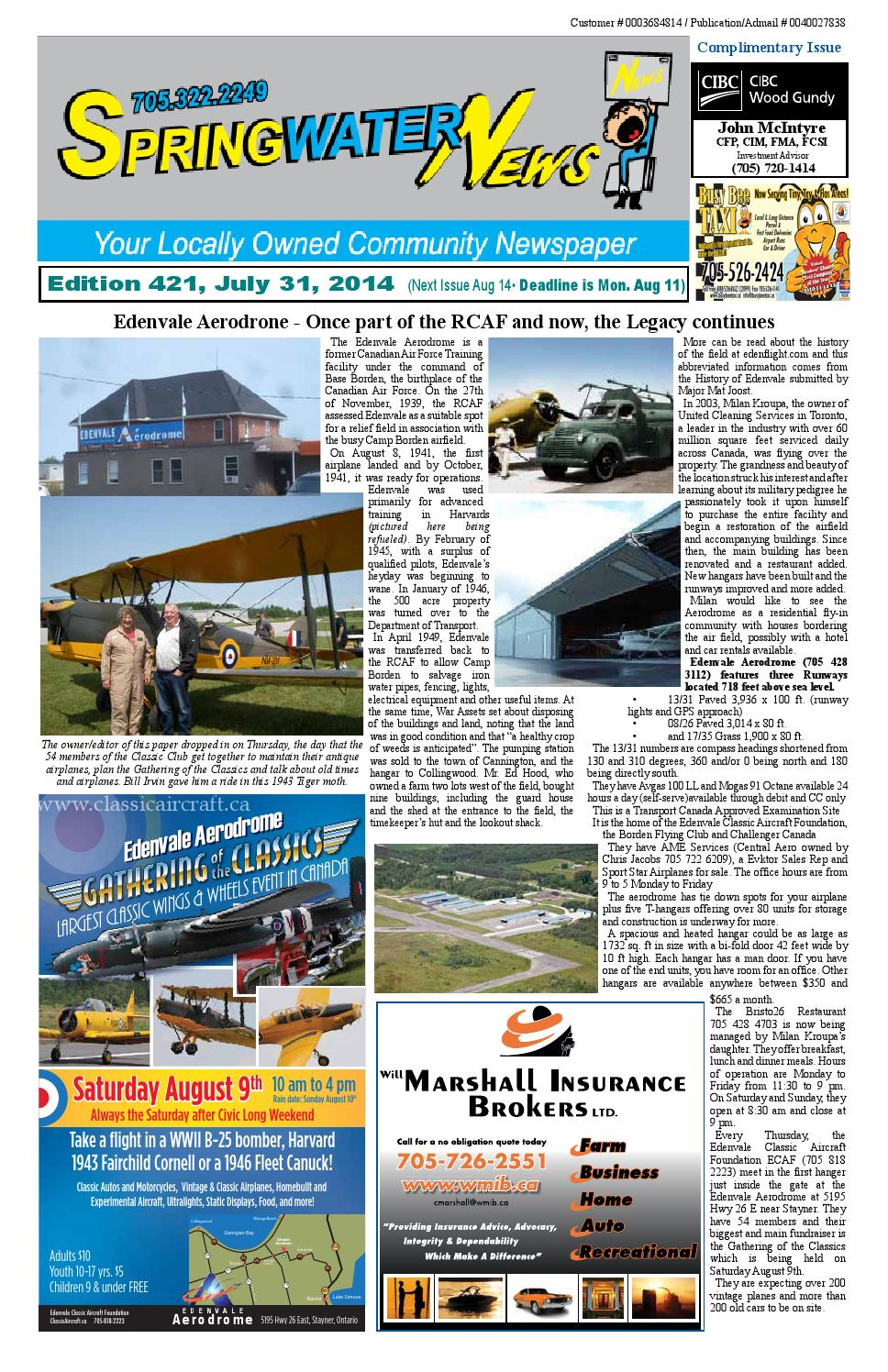 July 31 2014 edition 422 by Springwater News - issuu