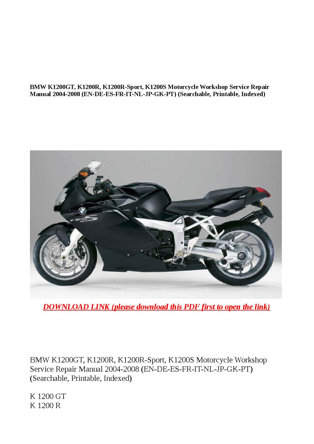 Bmw K1200gt K1200r Sport K1200s Motorcycle Workshop Wiring Diagram Service Repair Manual 2004 2008 En De By Anna Tang Issuu
