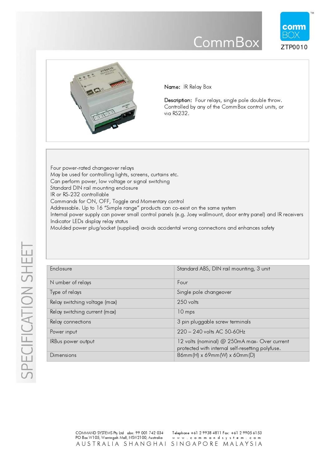 Ir Relay Box Spec Sheet By Commbox Pty Ltd Issuu Nominal Current