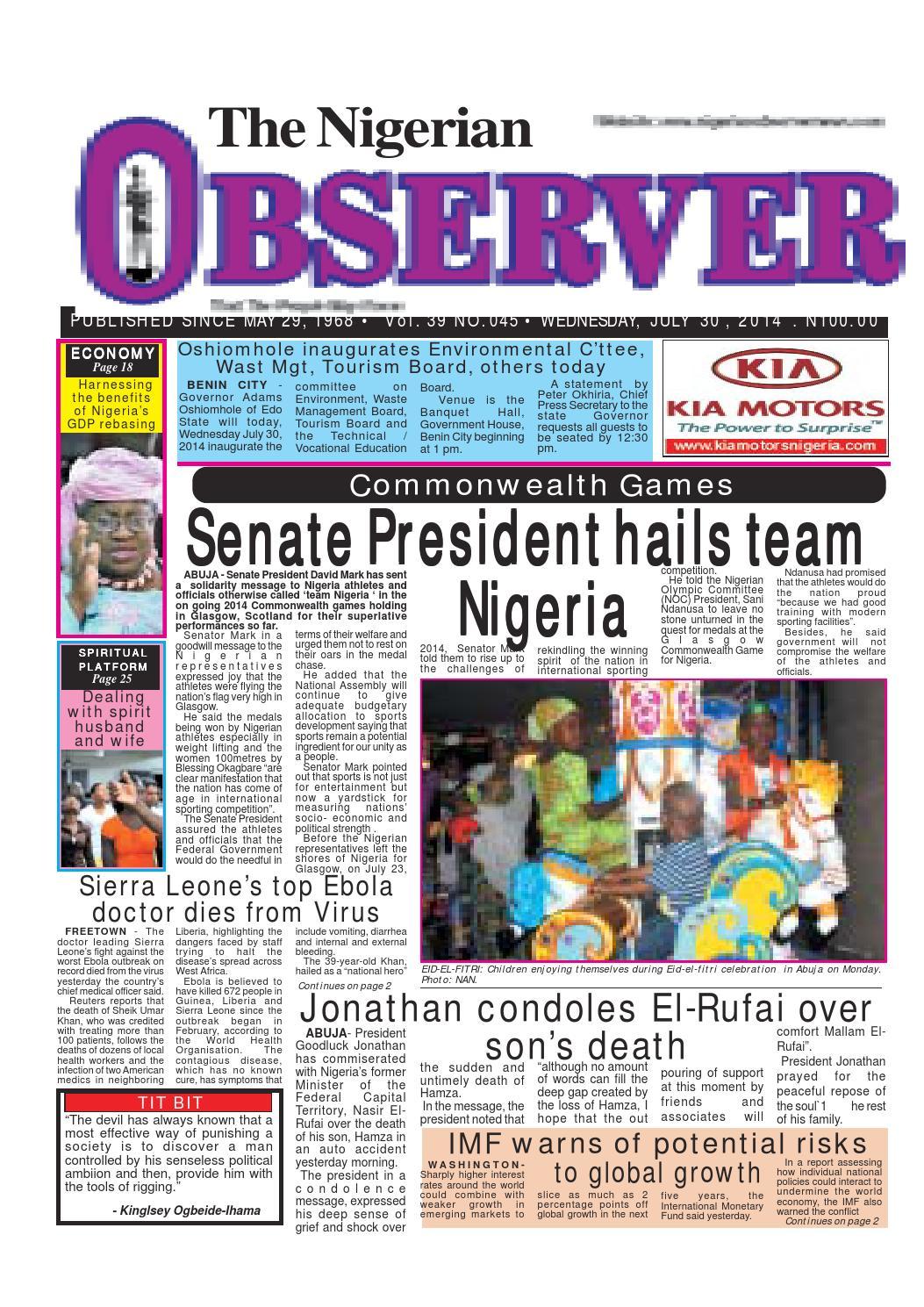 Nigerian observer 30 07 2014 by Nigerian Observer - issuu