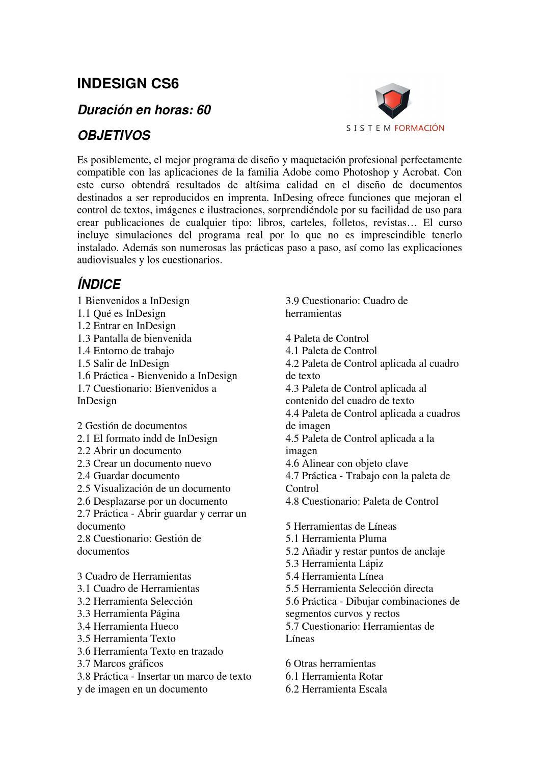 Programa indesign cs6 by Sistem Formacion - issuu