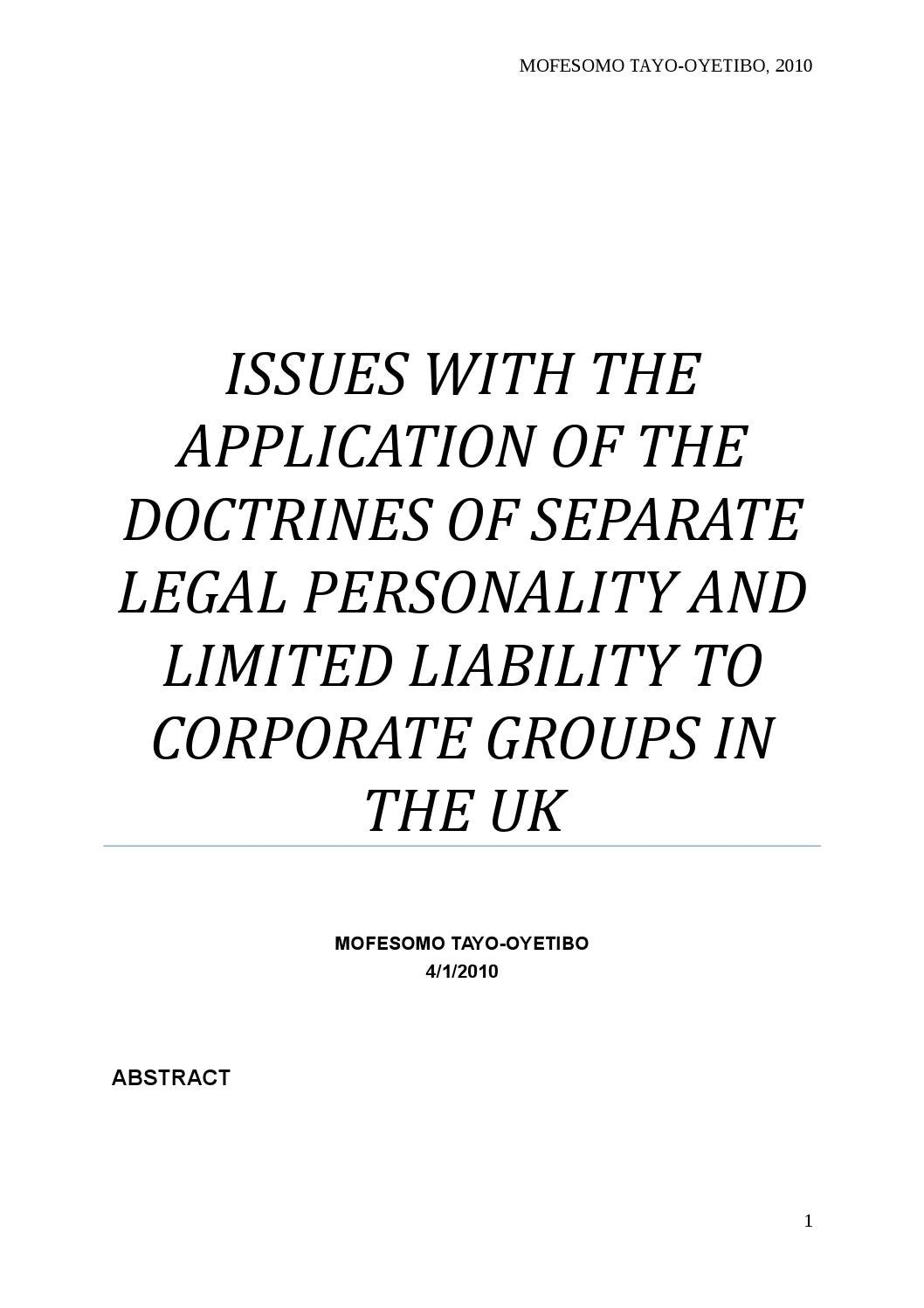 separate legal personality essay The veil doctrine in company law by amin george  the separate legal personality of a company will be disregarded only if the  as discussed in the essay,.