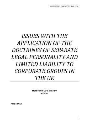 Issues With The Application Of The Doctrines Of Separate Legal