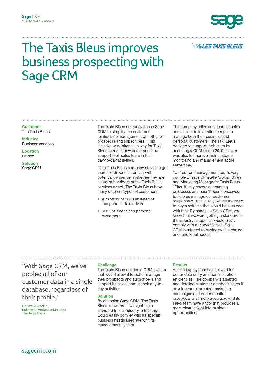 Sage CRM success story - The Taxis Bleus by Sage CRM - issuu