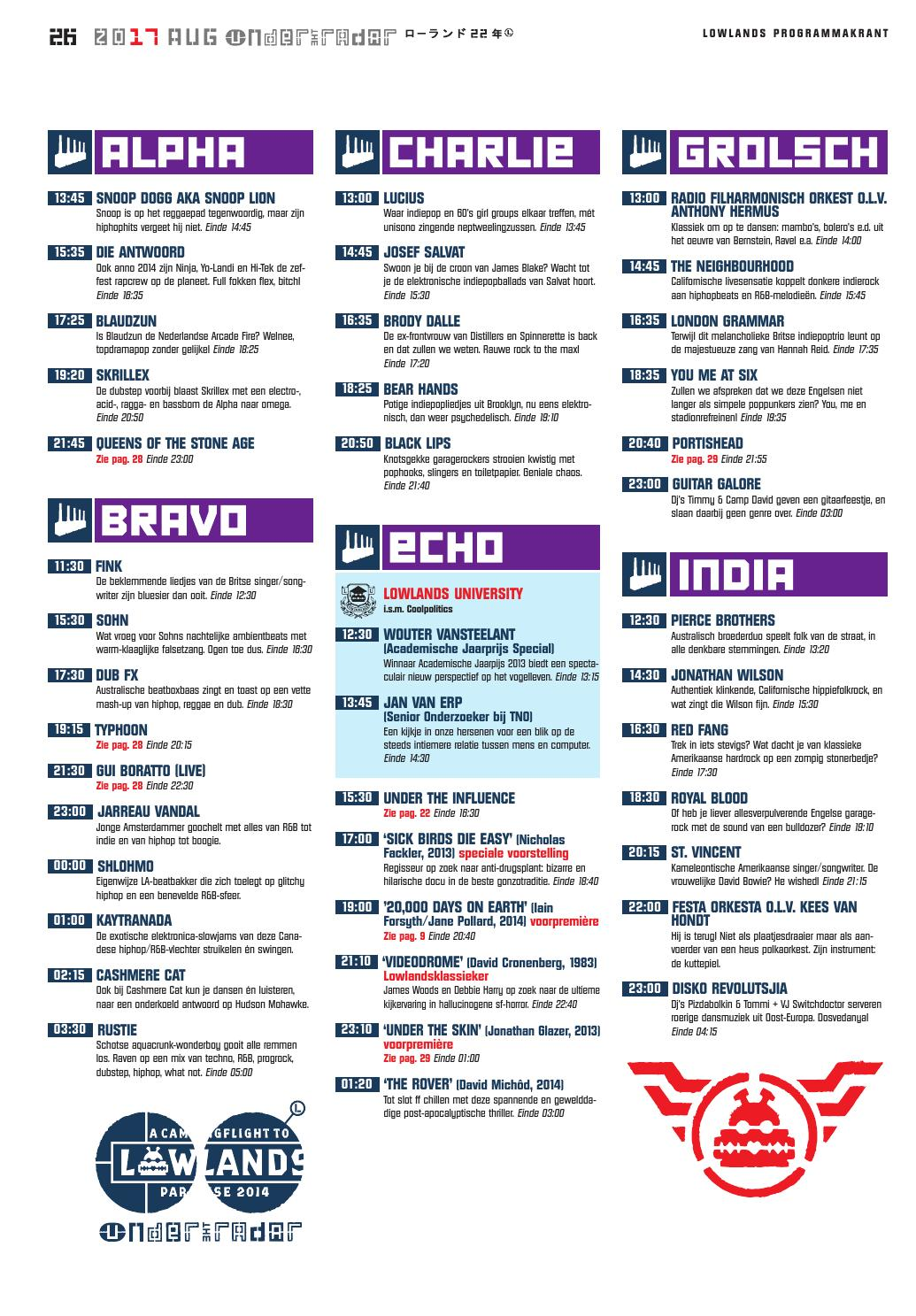 Lowlands Programmakrant 2014 by A Campingflight to Lowlands