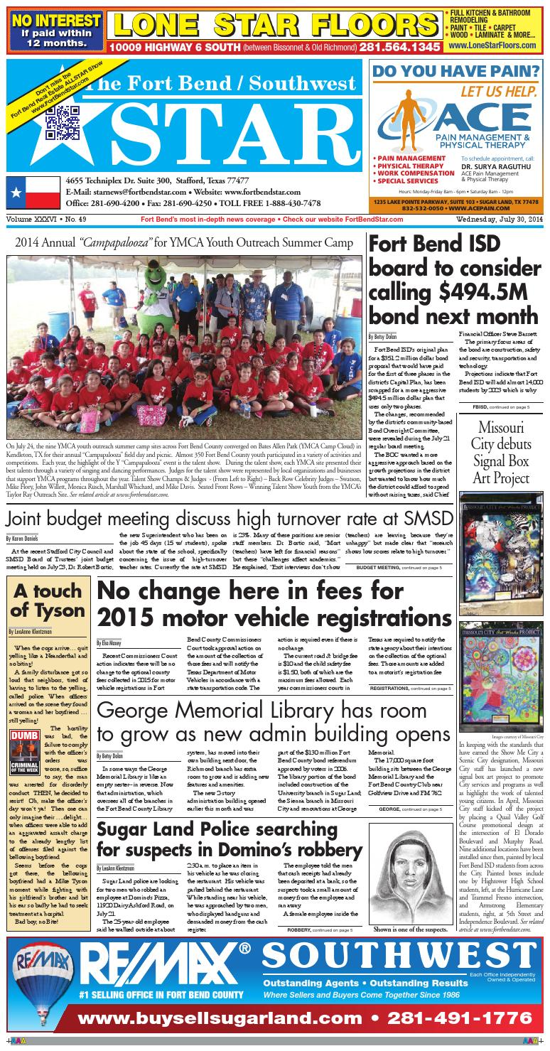 July 30 2014 Fort Bend Community Newspaper By Fort Bend