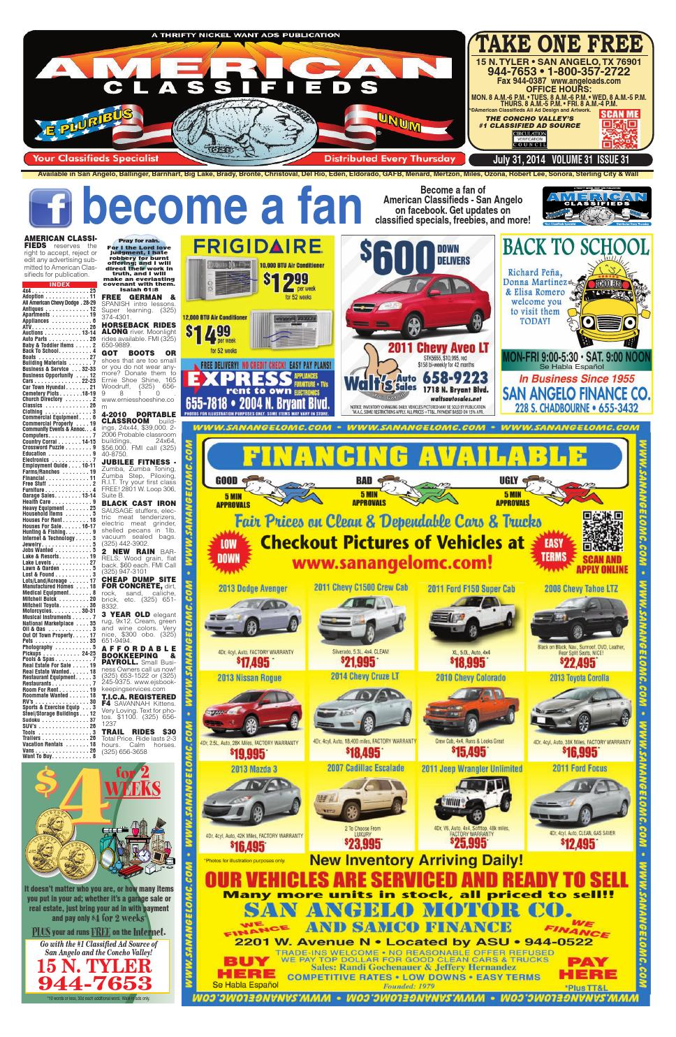 San Angelo American Classifieds 073114 By
