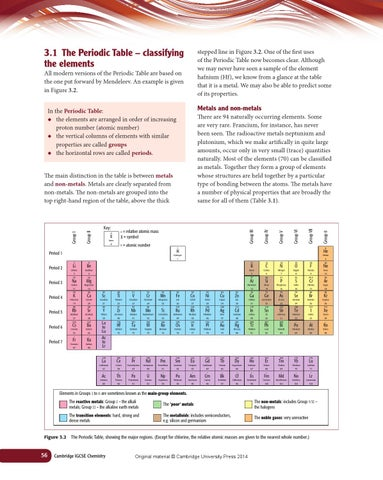 Cambridge igcse chemistry coursebook fourth edition by cambridge 31 the periodic table classifying the elements urtaz Gallery