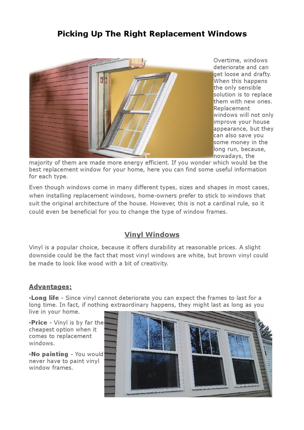 Picking Up The Right Replacement Windows By Ryan Williams