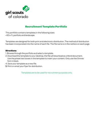 Girl Scouts Of Colorado Recruitment Flyer Templates By Girl