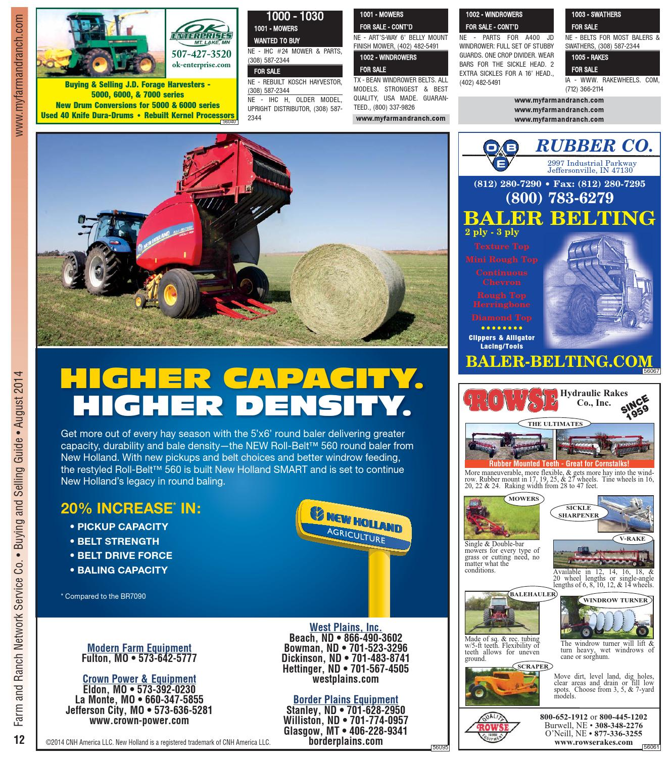 New Holland BR780 Round Baler Belts Full Set 3 Ply Mini Roughtop w//Clipper
