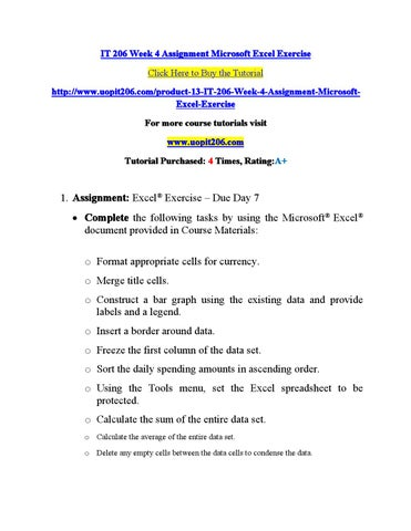 4 assignment microsoft excel exercise click here to buy the tutorial httpwwwuopit206comproduct 13 it 206 week 4 assignment microsoftexcel exercise