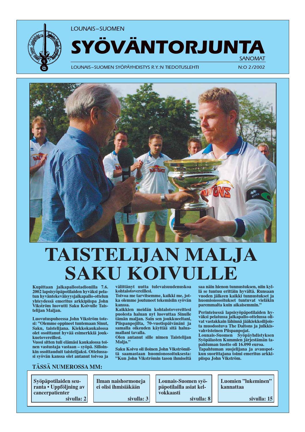 Lounais-Suomen Syöväntorjuntasanomat 2 2002 by Lounais-Suomen Syöpäyhdistys - Issuu