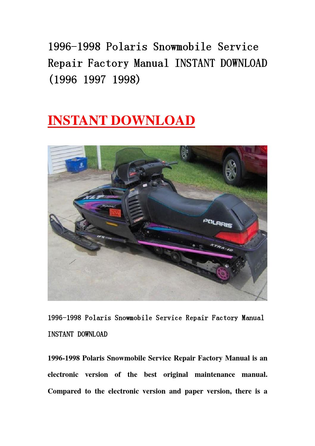 1996 1998 Polaris Snowmobile Service Repair Factory Manual Instant Download  1996 1997 1998  By