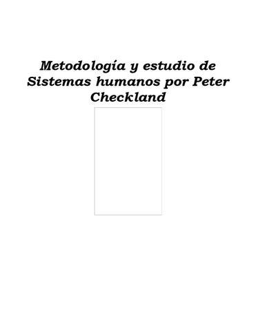 Metodología y estudio de sistemas humanos por peter checkland by ...