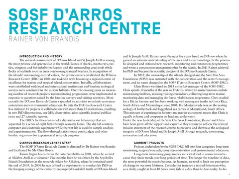 Page 20 of SOSF Centre   SOSF D'Arros Research Centre  Annual Report 2013