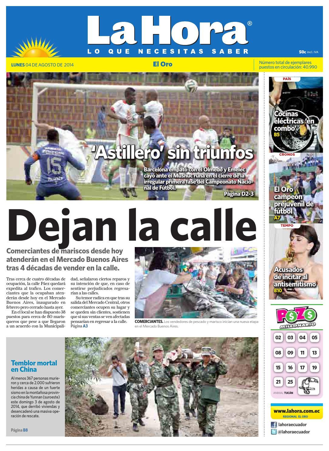 Diario La Hora El Oro 04 de Agosto 2014 by Diario La Hora Ecuador - issuu 3995e898eb841