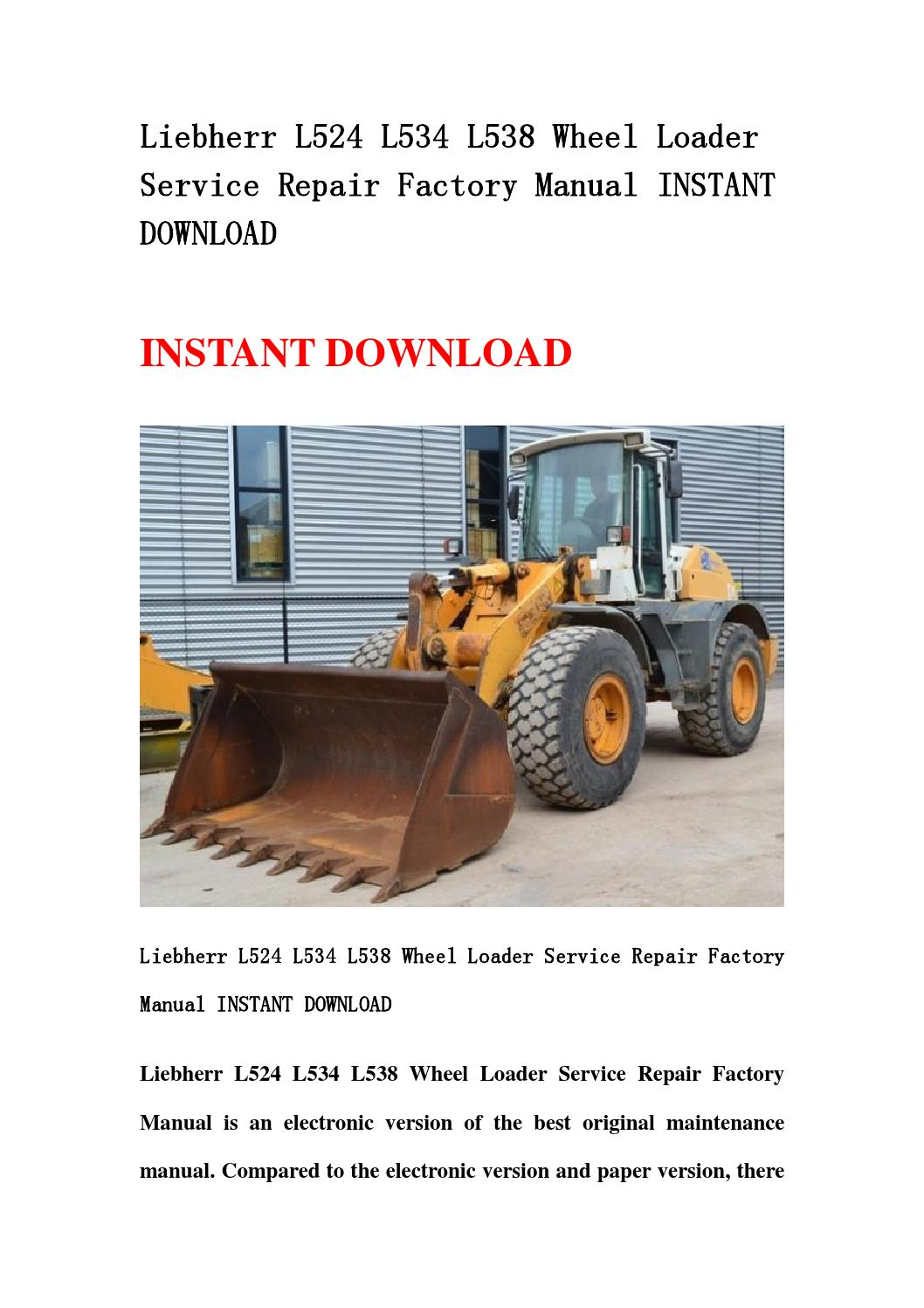 Liebherr L524 L534 L538 Wheel Loader Service Repair Factory Manual Key Switch Wiring Diagram Instant Download By Hdfgbsen Issuu