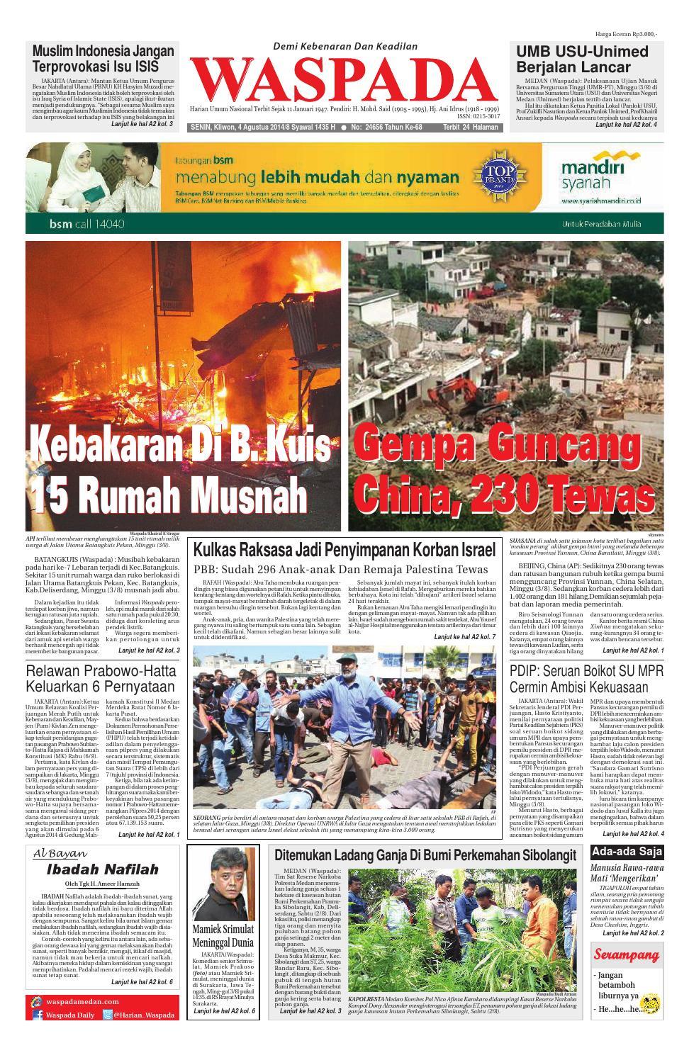 Waspada Senin 4 Agustus 2014 By Harian Waspada Issuu