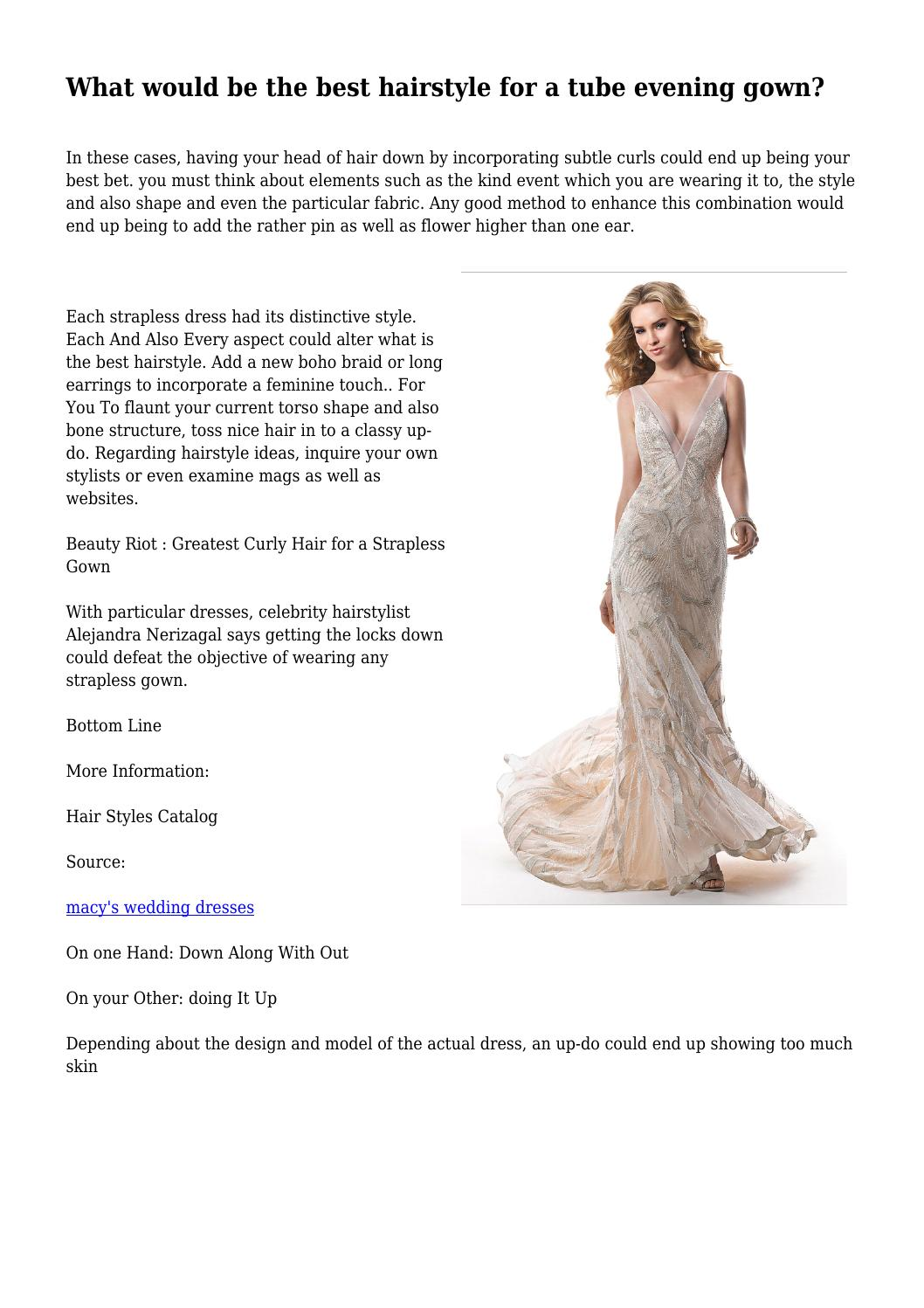 What would be the best hairstyle for a tube evening gown? by ...