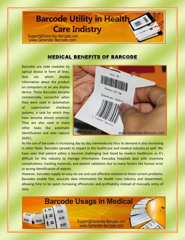 Benefits of Barcode in Medical or Health Care Sector by Priyanka - issuu