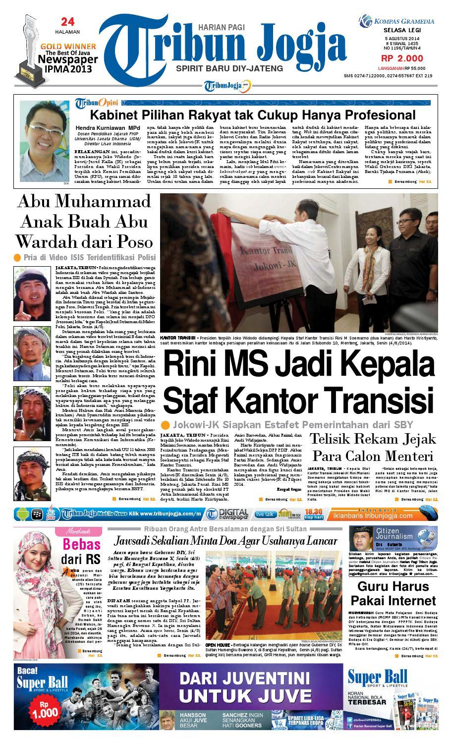 Tribunjogja 05 08 2014 By Tribun Jogja Issuu Produk Ukm Bumn Wisata Mewah Bali 3hr 2mlm