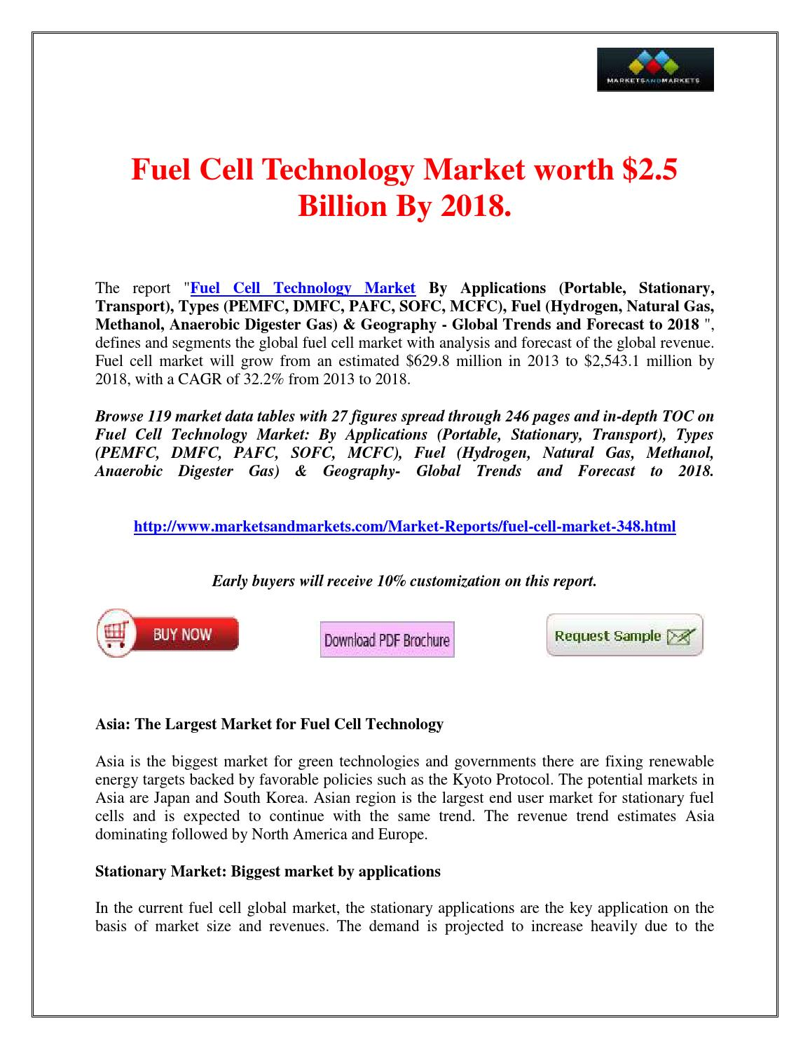 Fuel Cell Technology Market would be worth $2 5 Billion