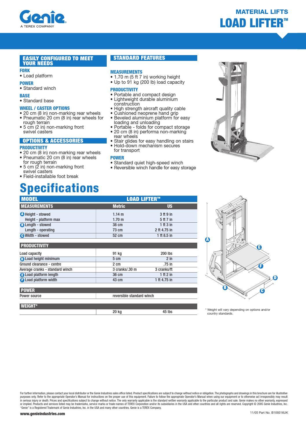 Genie load lifter by Eurosupply Hoogwerksystemen B V  - issuu