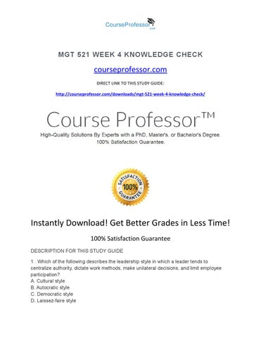 mgt 521 week 4 Mgt 418 week 4 team ethics standards presentation this tutorial was  purchased 7 times & rated a by student like you 2 reviews | write a review.