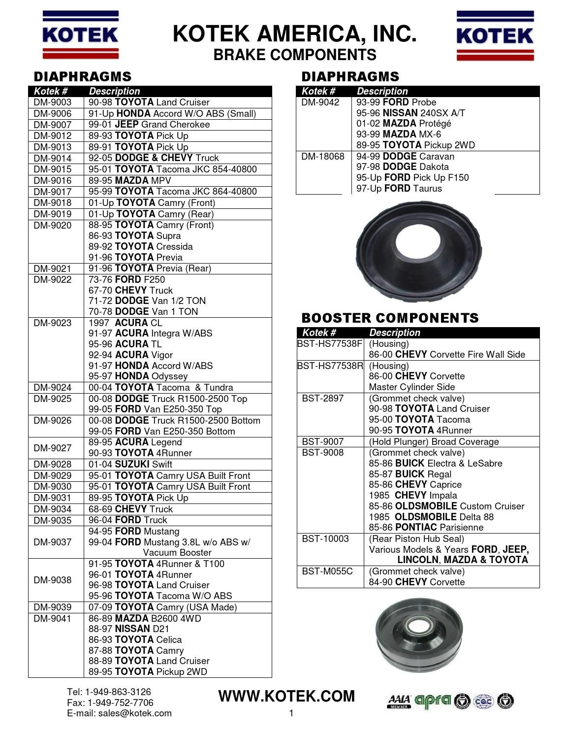 brake components flyer by kotek sealkits