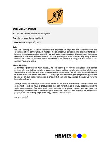 Maintenance Engineer Job Description | Server Maintenance Engineer Job Description V080414 By Alex Qi Issuu