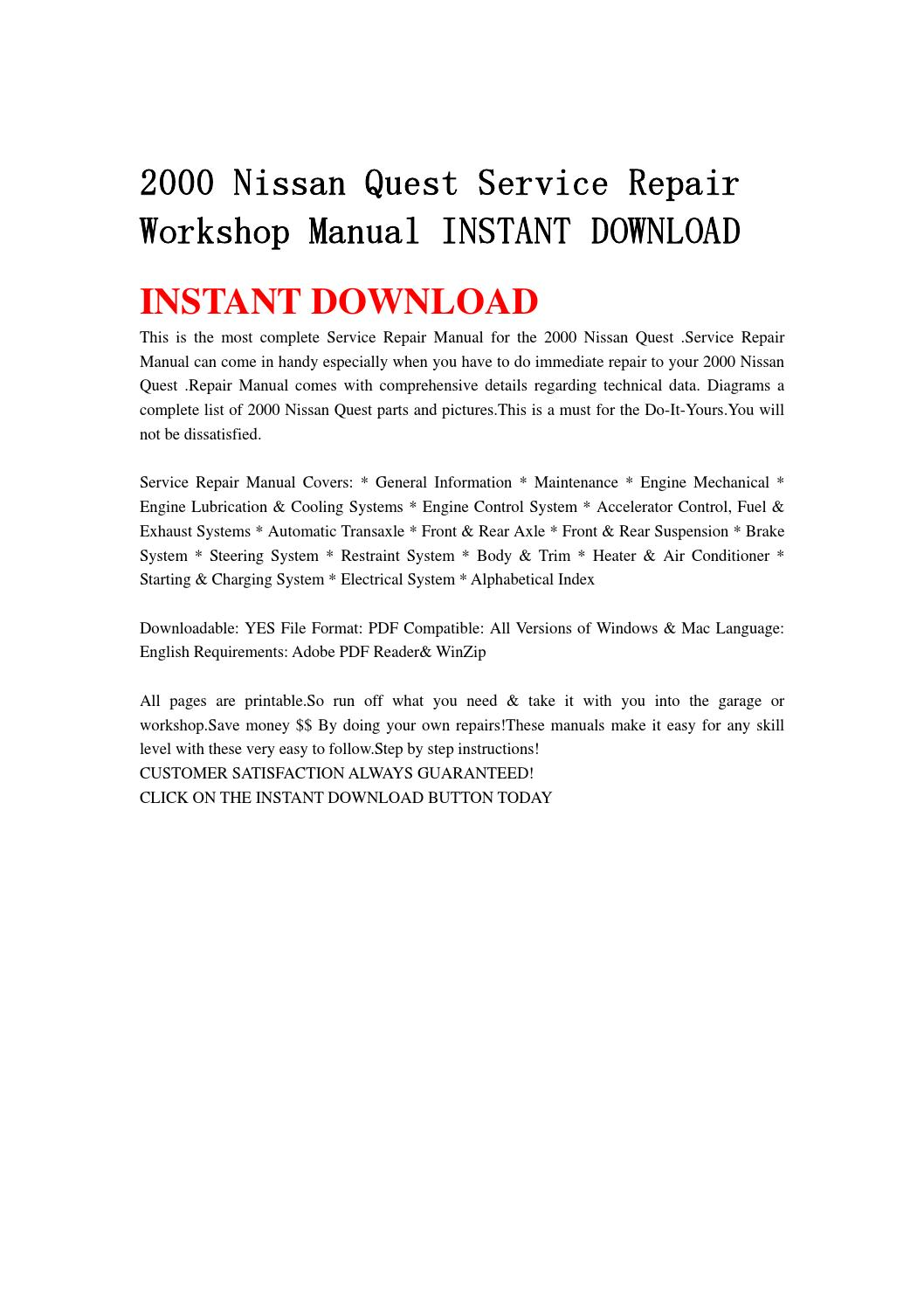 2000 nissan quest service repair workshop manual instant download by  hfgsbefhnsebb - issuu